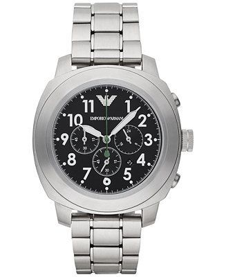 Emporio Armani Men's Chronograph Stainless Steel Bracelet Watch 46mm AR6056 - Watches - Jewelry & Watches - Macy's
