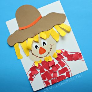 Torn Paper Scarecrow Kids Craft