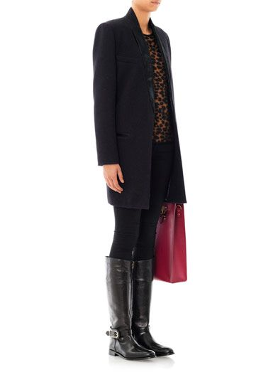Dark boots + dark layers, pops of pattern and color. winter #traveloutfit idea. Burberry Prorsum Winton riding boots outfit