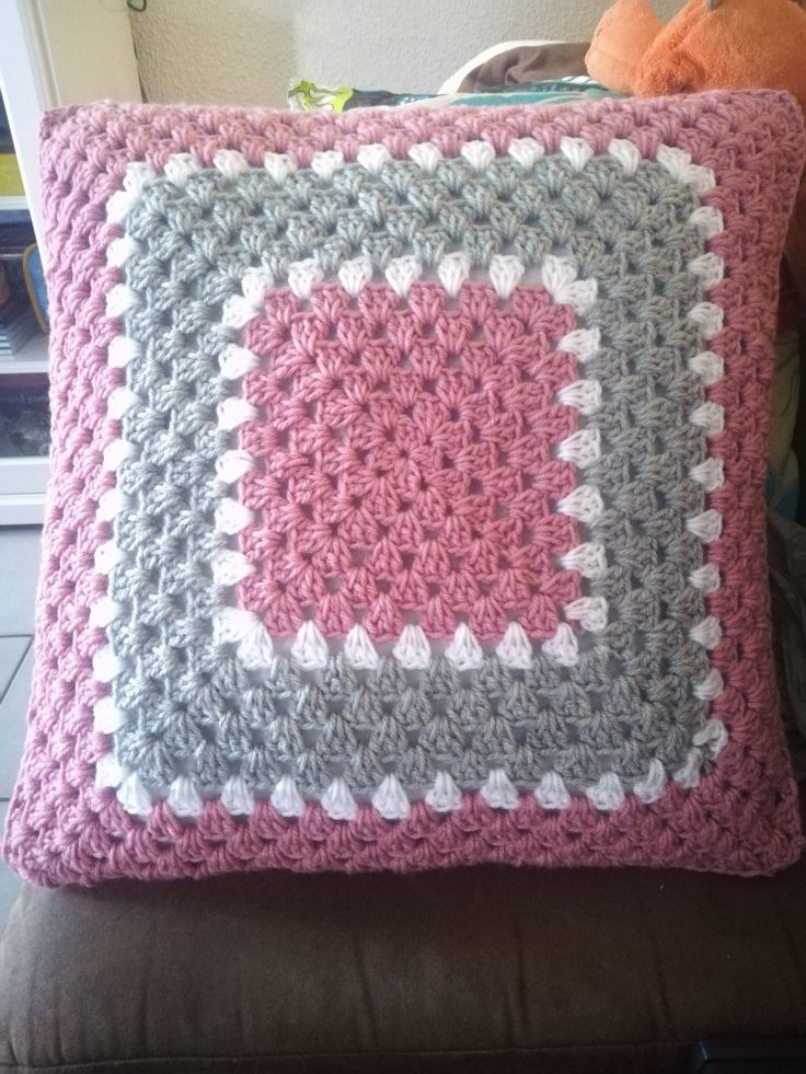 Pink granny square pillow