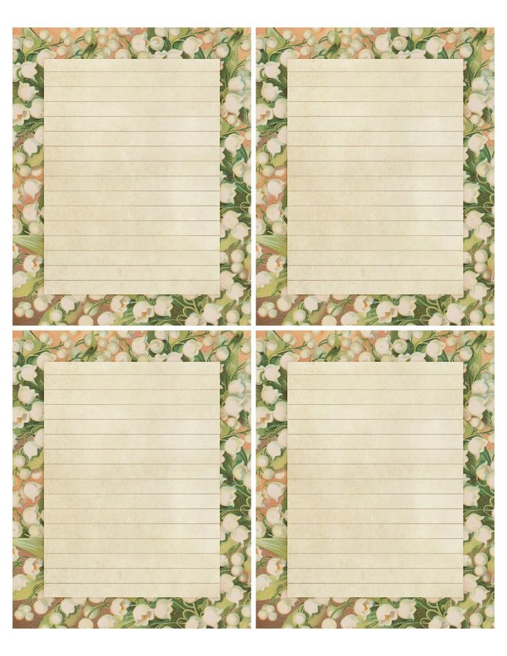 """""""The Sweet Lily"""" printable sheet of 4 notepapers, 4"""" x 5"""" each."""