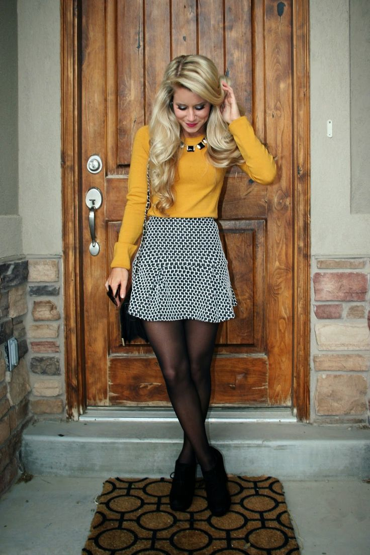 Yellow. Sweater. Black. White. Skirt.