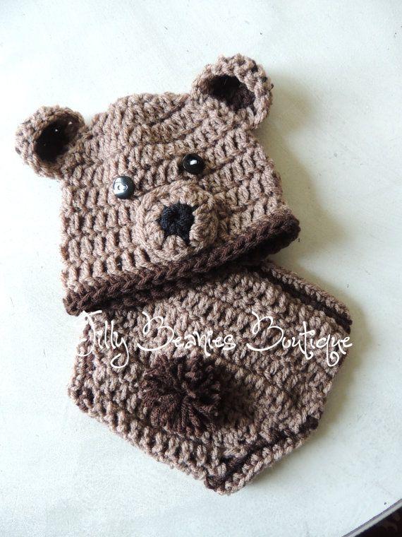 Infant Boy Bear Hat/Diaper Cover Set Teddy by JillyBeaniesBoutique