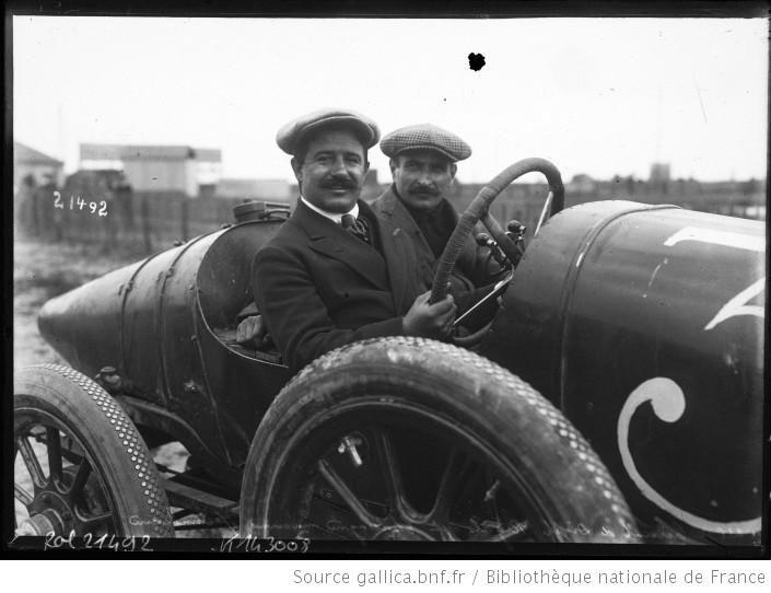 23-6-12, circuit de Dieppe, Rigal et Chassagne mécanicien sur Sunbeam [grand prix de l'Automobile club de France] : [photographie de presse]...