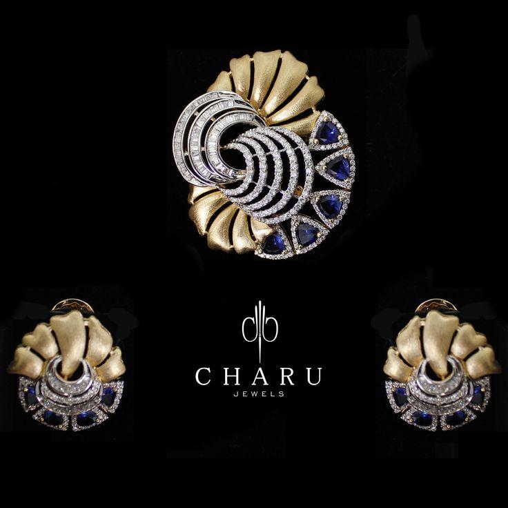 #fusion #Sapphire #diamond #jewelery #handmade #real #charu #jewels #partywear #fashion #jewellery