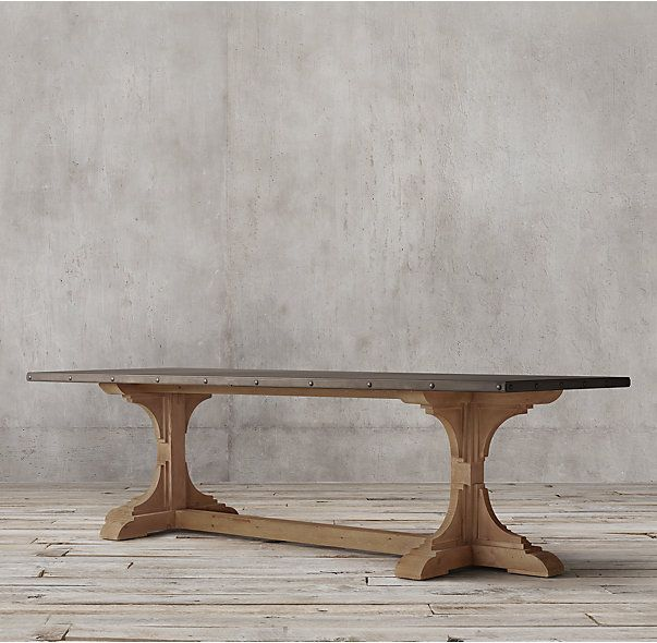 Rh 39 s 20th c reclaimed pine zinc trestle rectangular for Dining table construction