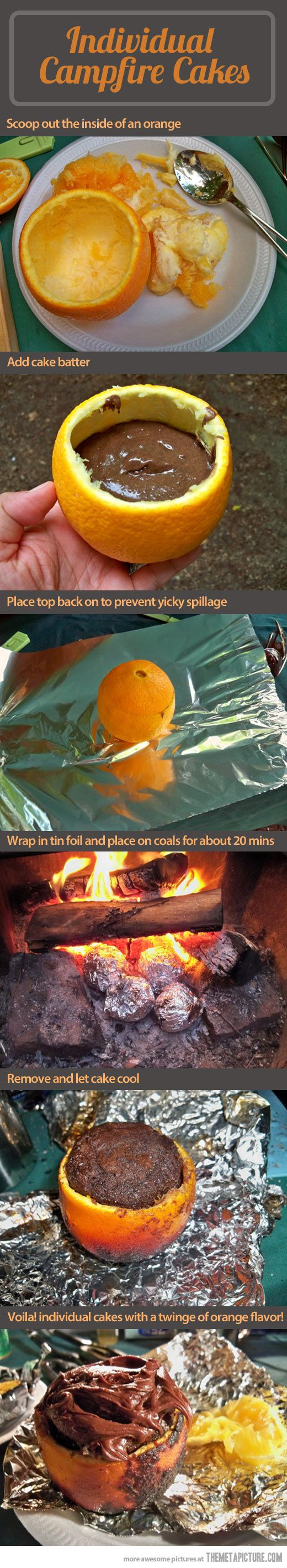 Oranges, fire and deliciousness… HOLY CRAP I need to try this! Individual campfire fresh baked cakes right in your camp on vacation! How fun is this?!!!