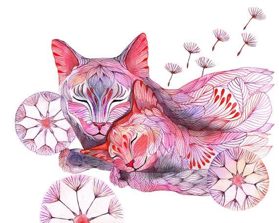 Sleepy Dandelion Watercolor Illustration On Tevagallery