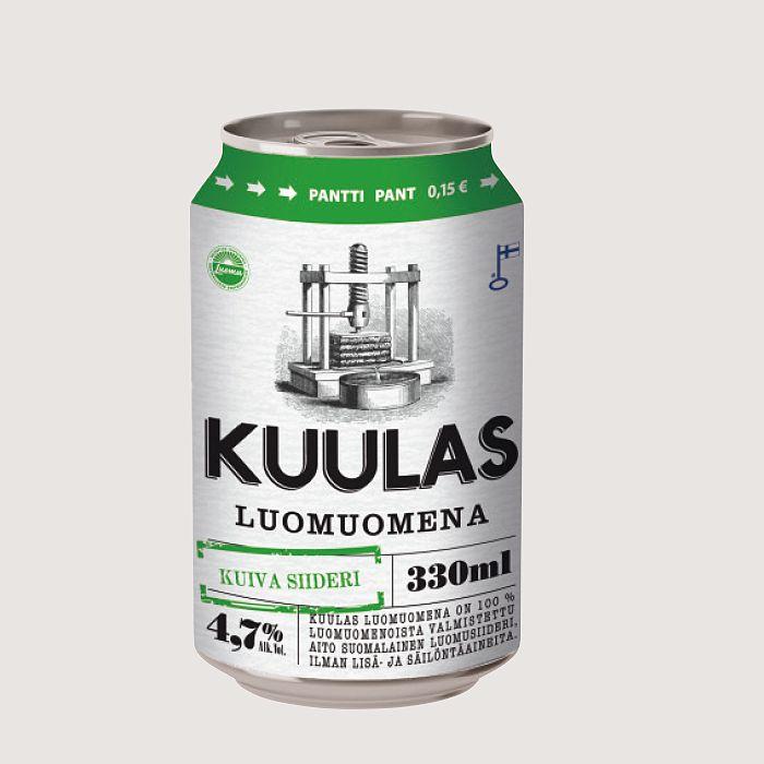 Lisäaineeton Kuulas Luomuomena -siideri 0,33l, 6,50 €, Panimoravintola Bruuveri, 1. krs.