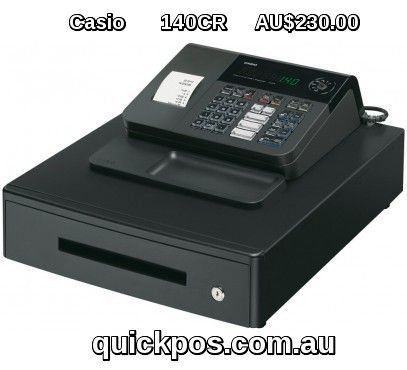 Casio 140cr Cash Register is user friendly cash register comes with 5 department cash register with large cash drawer 8 clerks 57mm single station printer 120 PLU s and more at QuickPOS.  #QuickPOS #CasioCashRegister #http://www.quickpos.com.au/cash-registers/casio-cash-registers-casio-140cr-cash-register-140cr.html