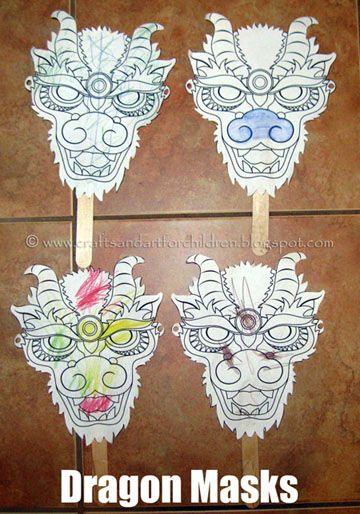 Free Printable Chinese Dragon Masks for kids to color for Chinese New Year