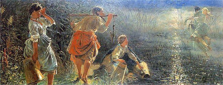 Jacek Malczewski - Topielec w uściskach dziwożony (cykl Rusałki), 1888