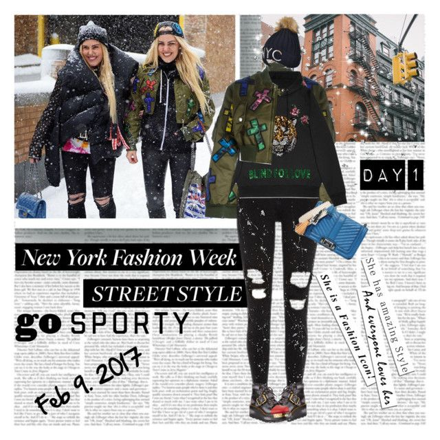 """NYFW Day 1 Street Style Go Sporty"" by stylepersonal ❤ liked on Polyvore featuring Moschino, Rebecca Minkoff, Gucci, Prada, StreetStyle and NYFW"