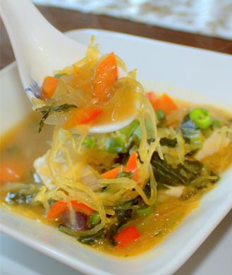 10 Healthy Soups to Fill You Up, Not Out: Spaghetti Squash, Asian Inspiration Spaghetti, Asian Spaghetti, Squash Soup, Squash Noodles, 10 Healthy, Noodles Soups, Healthy Soups, Shape Magazines