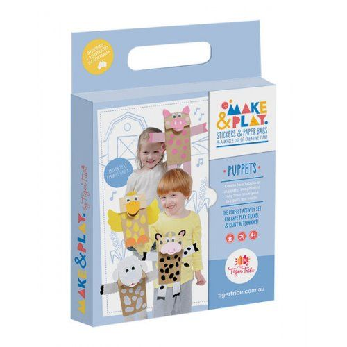 Puppet Make & Play Set by Tiger Tribe!  We love the make and play range by Tiger Tribe and it's guaranteed to delight you as well!  #children #kidscraft #puppets #kidsplay #play #learn #create #stockingfillers #chirstmasgifts #educationaltoys #tigertribe #littlebooteek