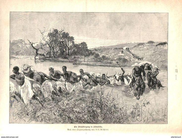 Bücher, Zeitschriften, Comics - Ein Flußübergang in Südafrika (Alb.Richter) /Druck, entnommen aus Zeitschrift/1896