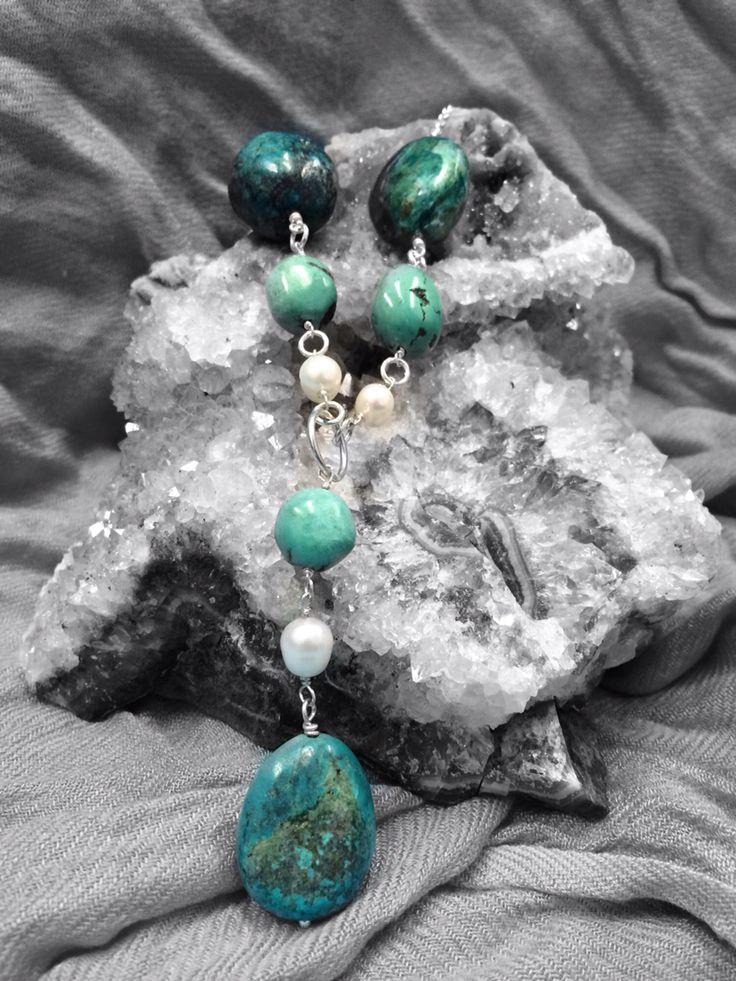 Turquoise and Pearl necklace on Sterling Silver #design #unique #jewellery #handmade #GGJewellery
