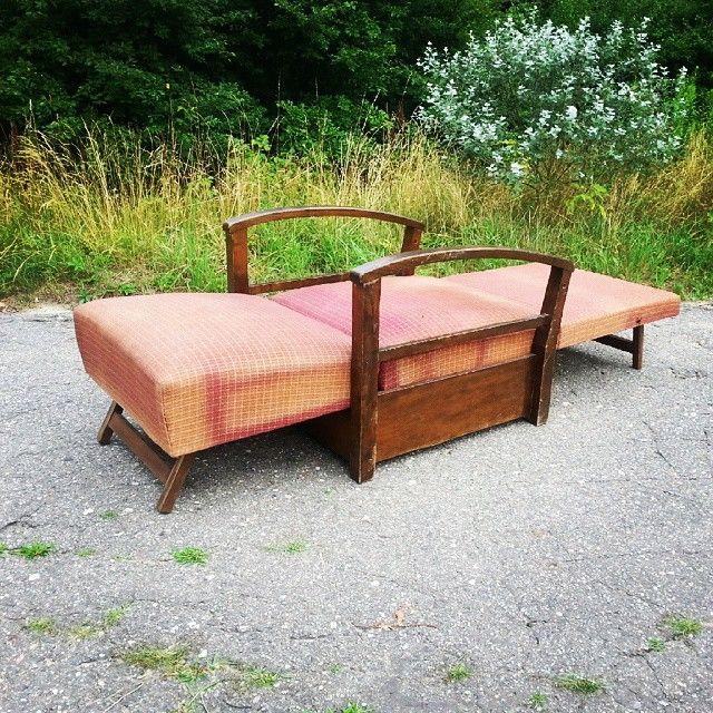 Art deco armchair Fotel art deco w pozycji do spania  #vintage #interiors #industrial #design #loft #retro #vintageshop #sklepvintage #poznan #midcenturymodern #midcentury #vintagestyle #artdeco #fotel #chair #armchair #sessel #antiques #retro #old #antiques #50er #50s #lata50te