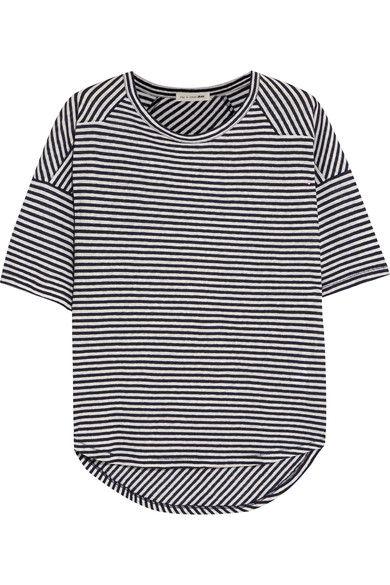 rag & bone - Valley Striped Linen And Modal-blend T-shirt - Navy - x small