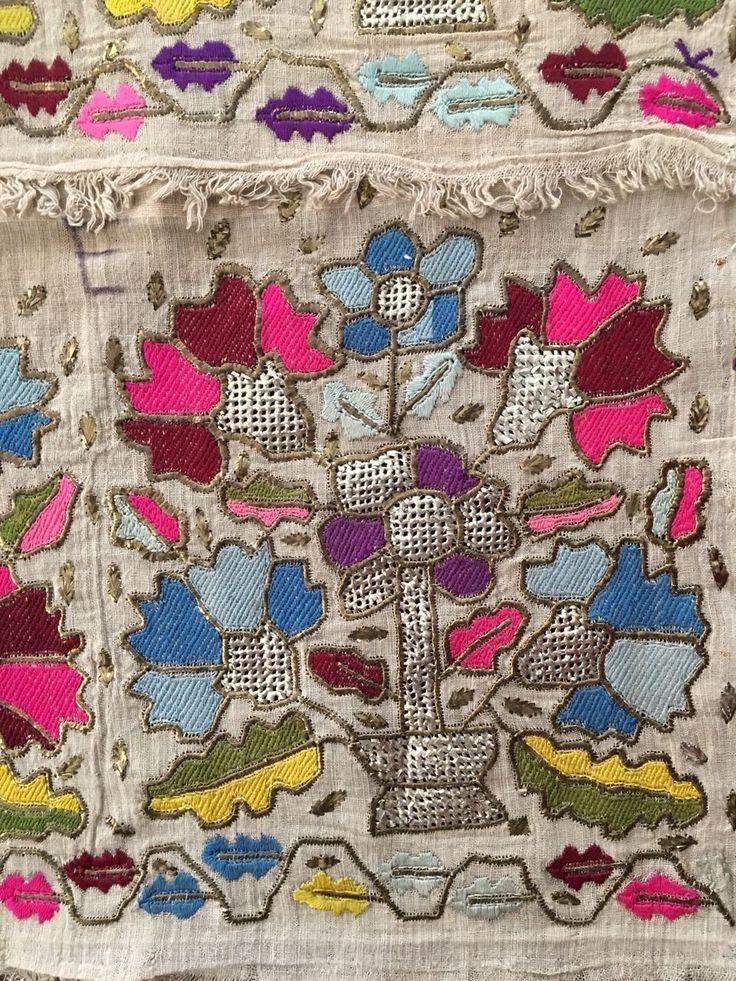 Antique Ottoman-Turkish Silk & Gold Metallic Hand Embroidery On Linen N4 3