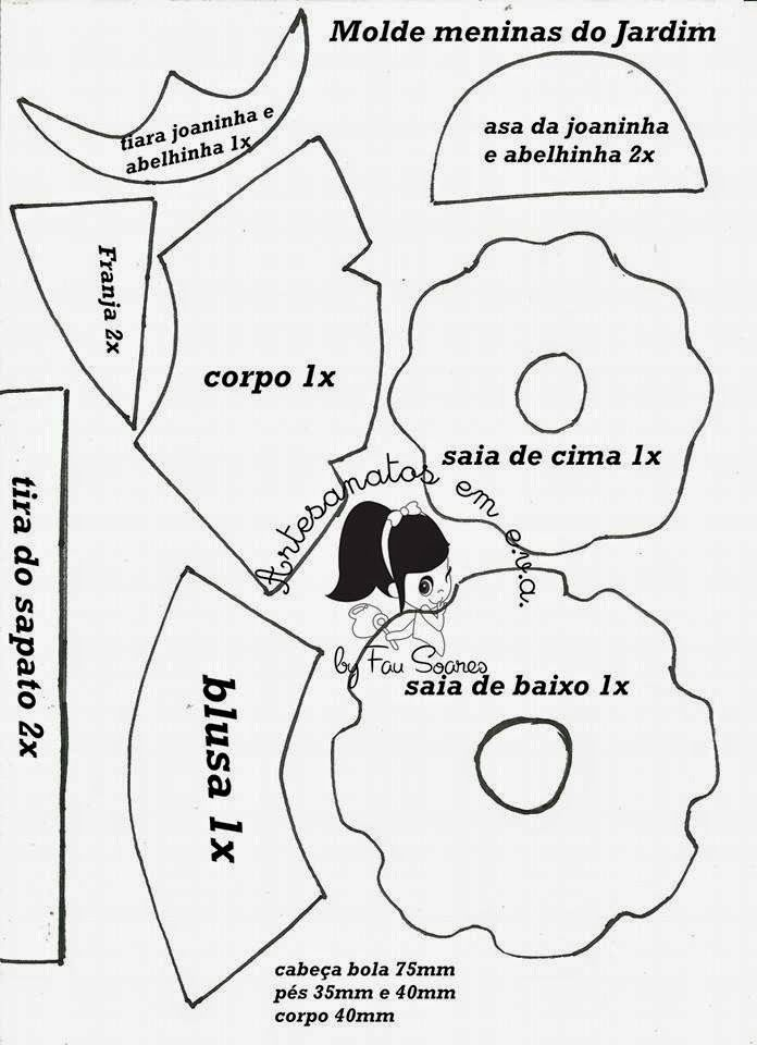 Fofuchas Eva e Cia: Molde Meninas do Jardim