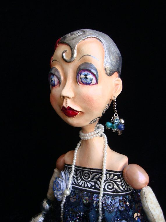Art Deco style flapper girl of Gatsby epoch ABYGAIL is a boudoir poseable doll. She is a real daughter of Roaring Twenties. ABYGAIL is a fatal