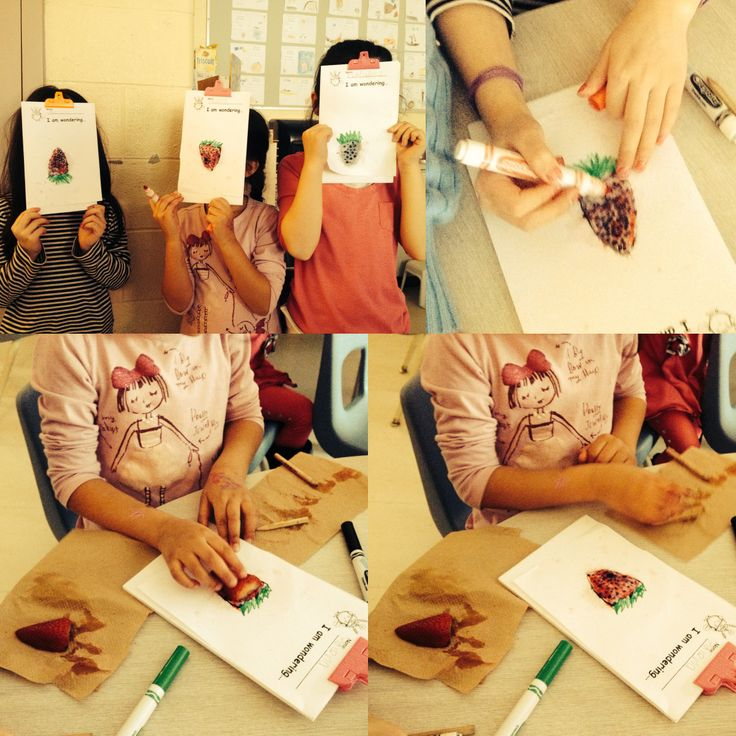 """""""We are Wondering"""" why strawberries have seeds on the outside?   Children using strawberry as a creative manipulative."""