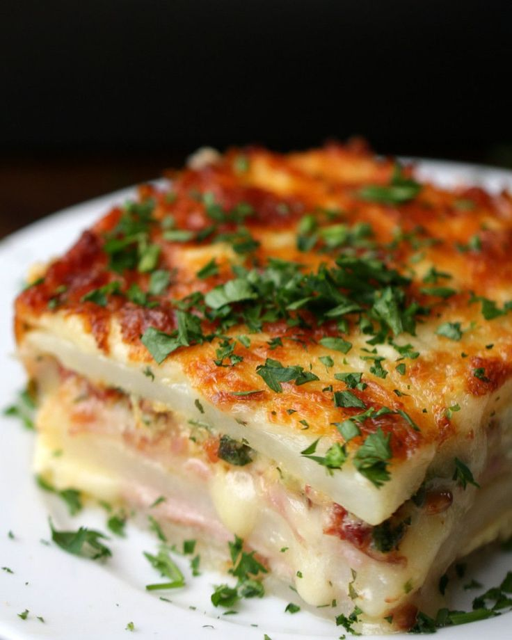 Layered Ham And Cheese Potato Bake. Decrease cream to 3/4c and bake 1 hour.