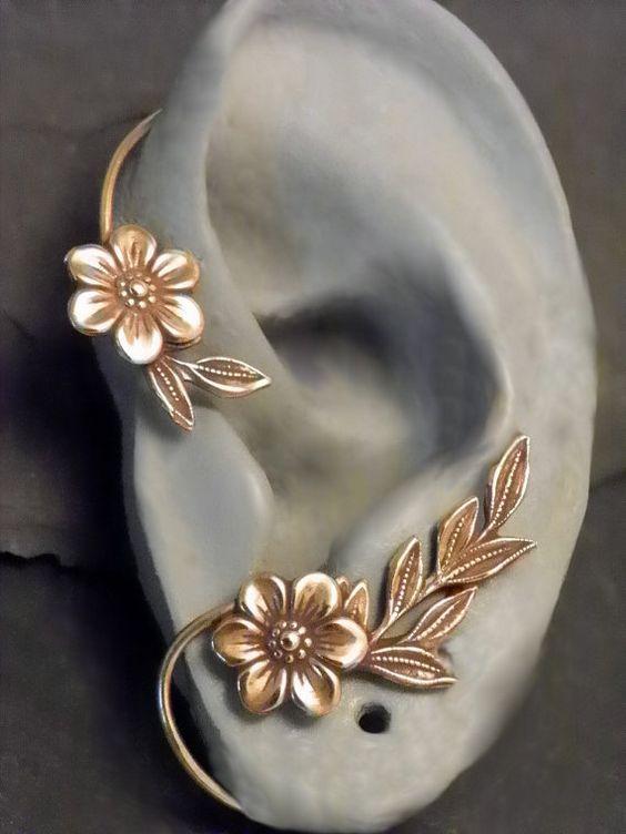 Fleur et feuille oreille enveloppement - GOLDEN GARDEN - laiton Ear Cuff Wrap: