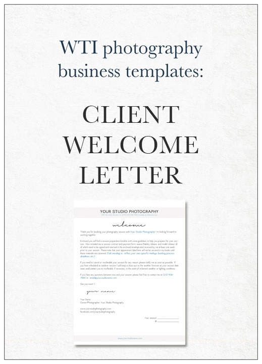 Image of Photography Client Welcome Letter Template