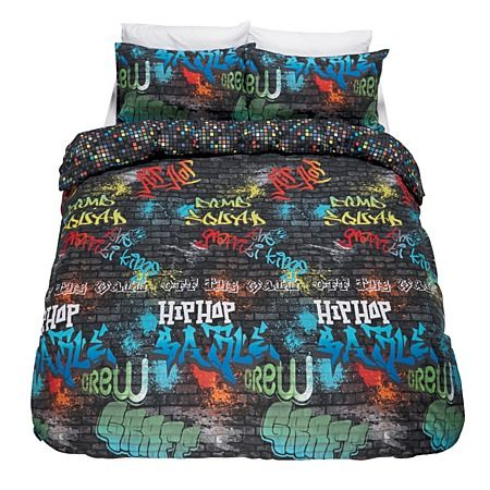 Wildzone Duvet Cover Set Graffiti Queen - Bedspreads & Duvet Covers - Bedroom - Homewares - The Warehouse