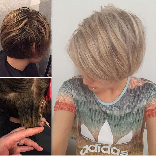 No more dark bands! Hello beautiful Blonde 💁 #pixie #shortandcute #kelownanow #kelownanow #kelownasalon #blond #olaplex #fun #funky #sassy  Hair @hair.by.amandajess