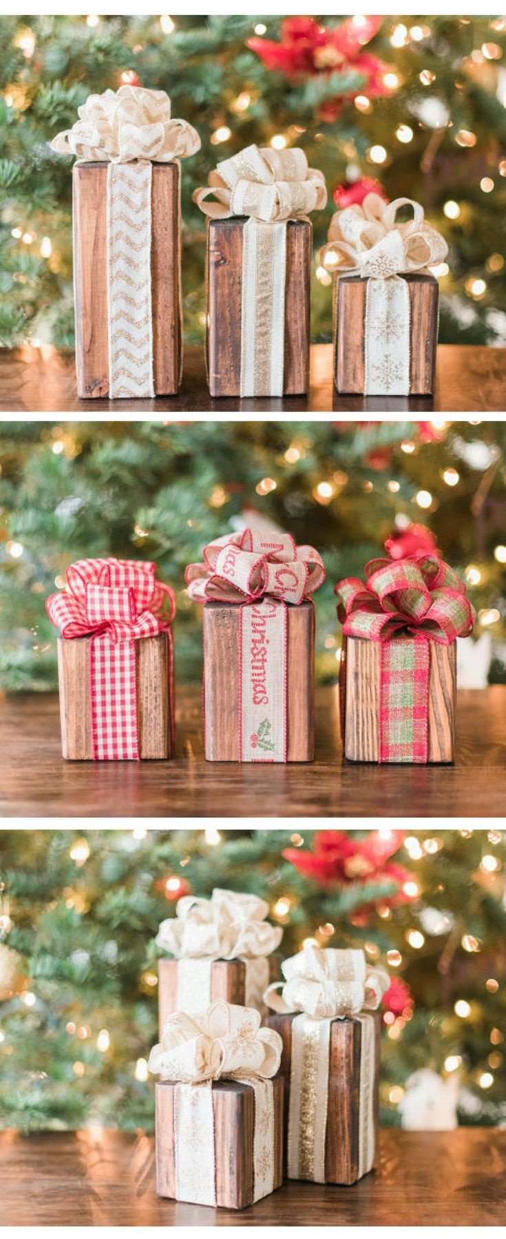 Wooden Christmas presents!  These would be cute under the Christmas tree... until you have real presents under the tree!  Rustic Christmas decor, wood Christmas presents, Christmas gifts #affiliate