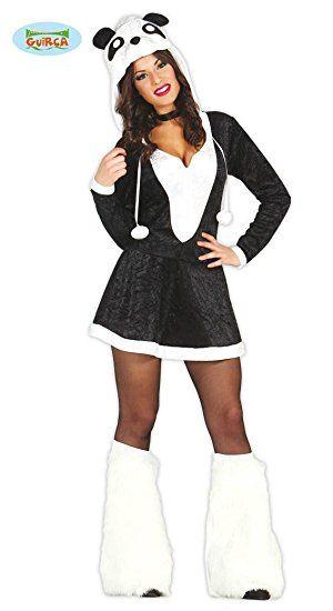 sexy Panda Karneval Motto Party Kostüm für Damen braun Kleid Tier Damenkostüm Tierkostüm Gr. XS-M, Größe:M