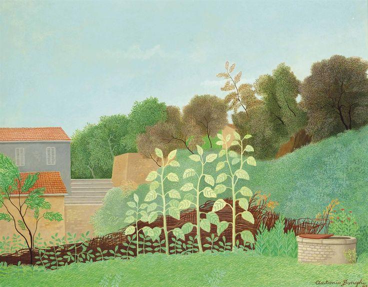 Antonio Donghi (Italian, 1897-1963), Paesaggio Torino di Sangro [Torino di Sangro landscape], 1948. Oil on board, 40 x 50 cm.