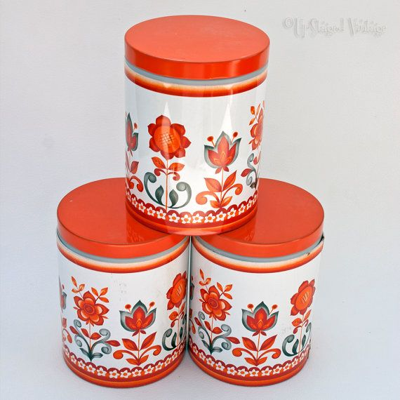 Retro 1970s Orange Floral Storage Tins Tea Coffee Sugar Canisters