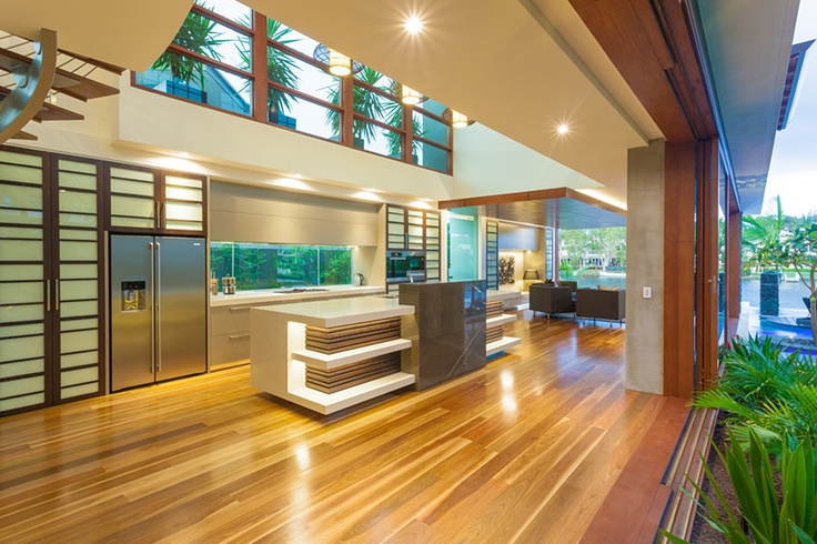 Chris Clout Design modern resort kitchen in the tropical house Noosawaters landscapes lighting Japanese style contemporary interiors