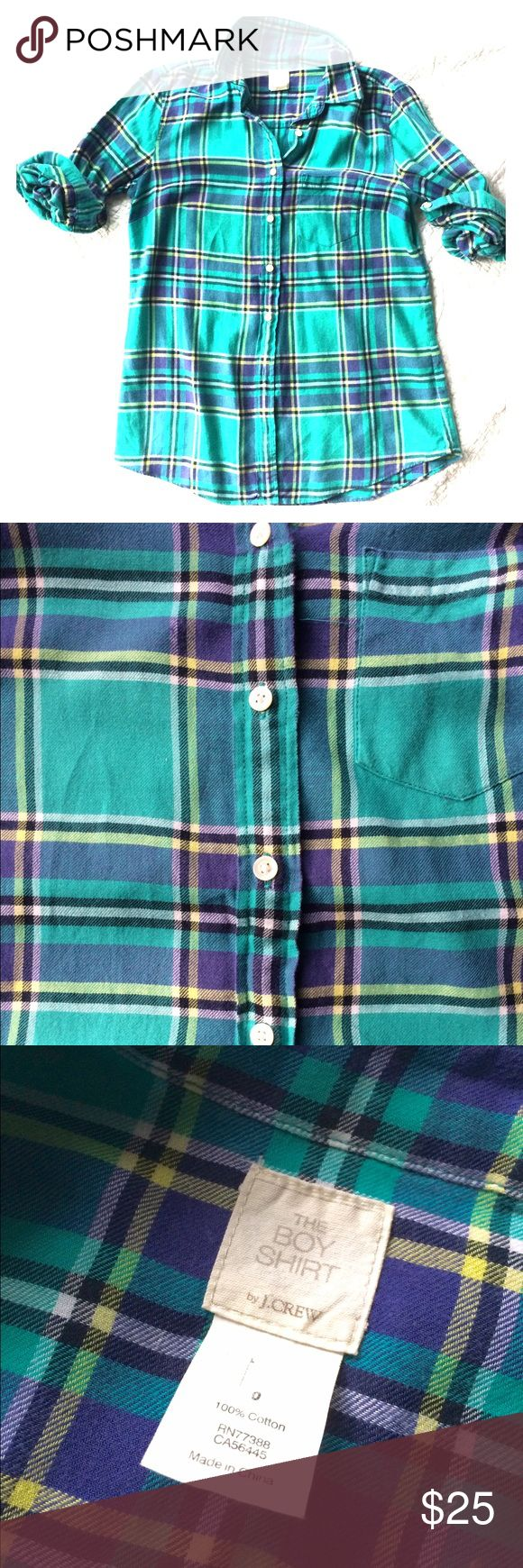 J.Crew button down Bright plaid soft lightweight flannel button down. Brightens any outfit on any day! Long sleeves can be rolled and collar popped to accentuate a fun statement necklace! Breast pocket. Long sleeve. J. Crew Tops Button Down Shirts