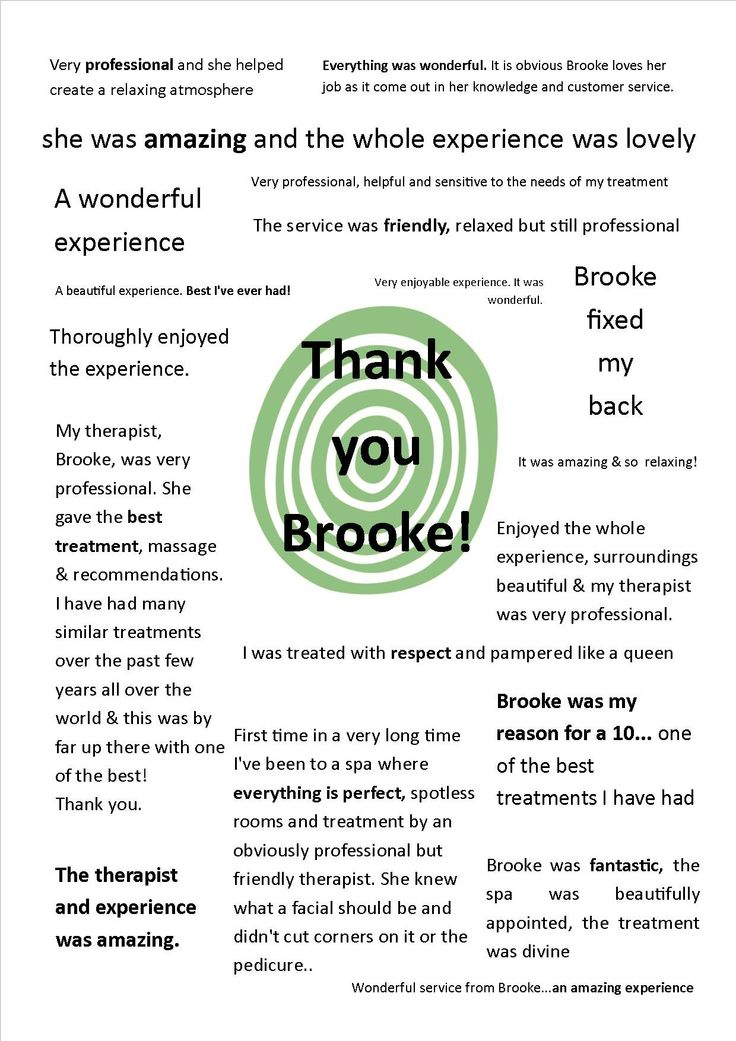 A sample of the great feedback recently received by our wonderful Brooke!