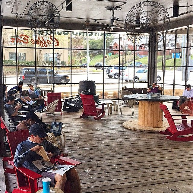 Loll Designs modern outdoor rocking chairs at Dancing Goats Coffee Bar at Atlantda's Ponce City Market.