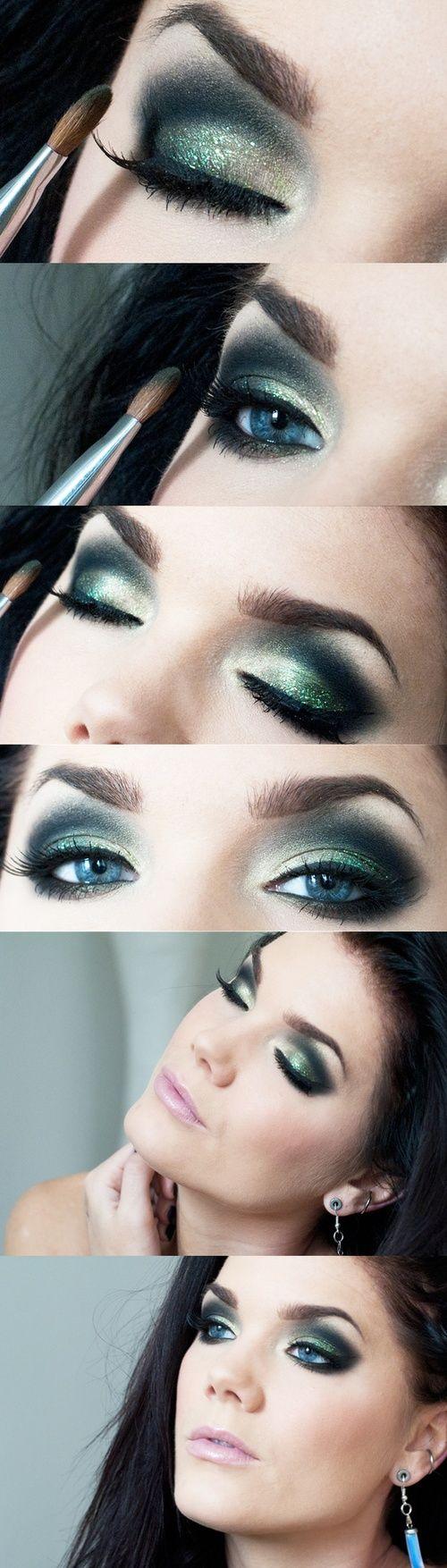 Smokey Eyes mit dem gewissen Etwas – hellgrüner Glitzer-Lidschatten bringt Frische in dein festliches Make-up und lässt es samtweich wirken