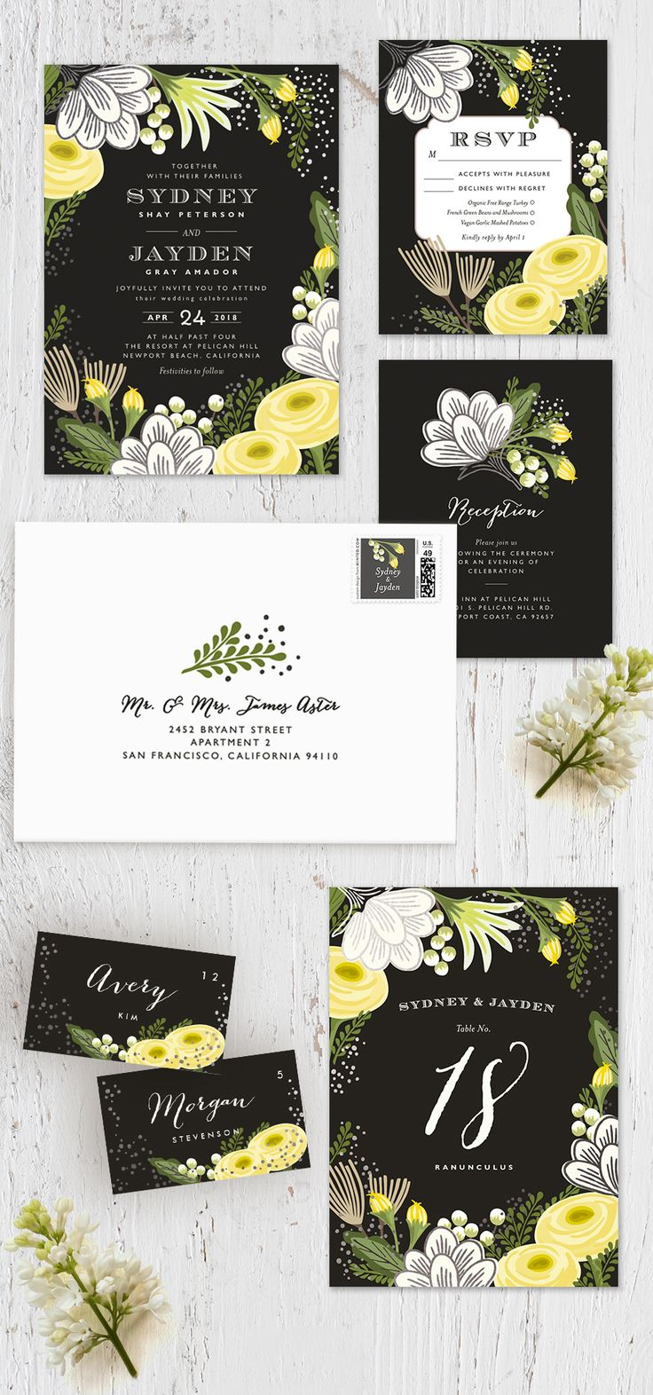 time wedding invitatiowording%0A Celebrate your spring time romance with   Bolero    Minted artist Griffinbell  Paper Co u    s gorgeous bright floral infused gold foil wedding invitation