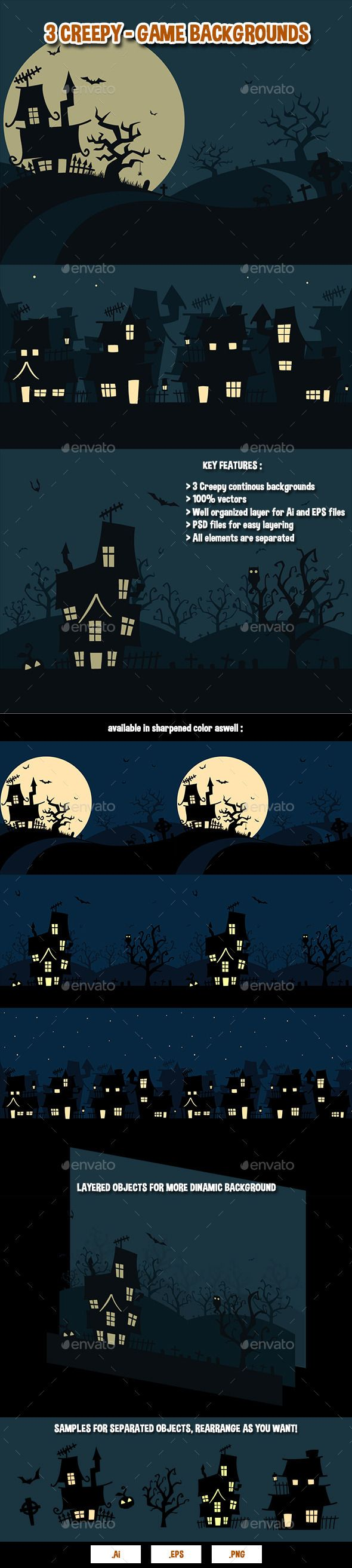 3 Creepy  Game Backgrounds — Photoshop PSD #vector #scary • Download here → https://graphicriver.net/item/3-creepy-game-backgrounds/9213560?ref=pxcr