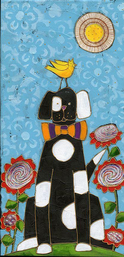 Isidore mon chien d'amour par Isabelle Malo • Acrylique sur toile et collage • Mixed media • Folk art • www.isamalo.com • Artiste peintre du Québec • Art naïf