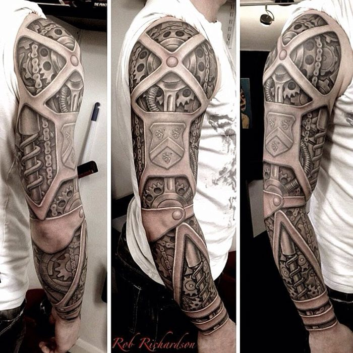 Biomechanical Sleeve With Armour | Best tattoo ideas & designs