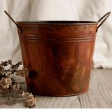 """Flower Shop Buckets Stained Galvanized Metal with handles 6.5""""  Size     $5 each / 6 for $4 each"""