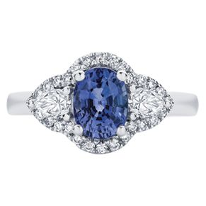 One of our favourite new designs, the 'Rosetta Trio 2' featuring an oval cut Sapphire, two pear cut diamonds and surrounded with small round brilliant diamonds.  www.larsenjewellery.com.au