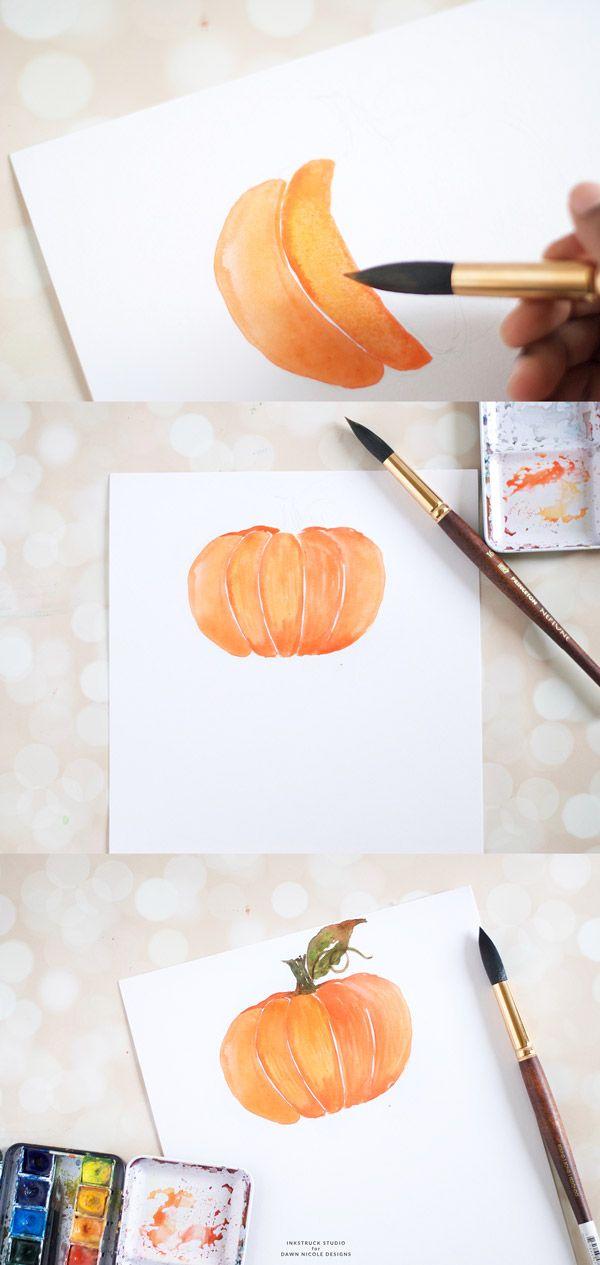 Watercolor pumpkin tutorial | Inkstruck Studio for Dawn Nicole Designs