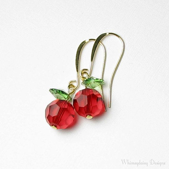 Crisp Red Delicious Crystal Apple Earrings by whimsydaisydesigns, $18.00
