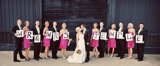 Absolutely adorable! if you have enough people in your wedding party to do this, it's fantastic!!! =)Pictures Ideas, Wedding Parties, Photos Ideas, Photo Ideas, Mrmrs, Cute Ideas, Wedding Photos, Bridal Parties, Absolute Adorable